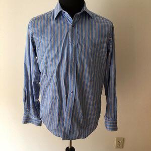 Robert Graham blue, white, brown shirt - mens med